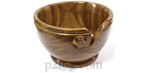 Turned wooden yarn bowl