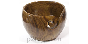 Turned wooden yarn bowl